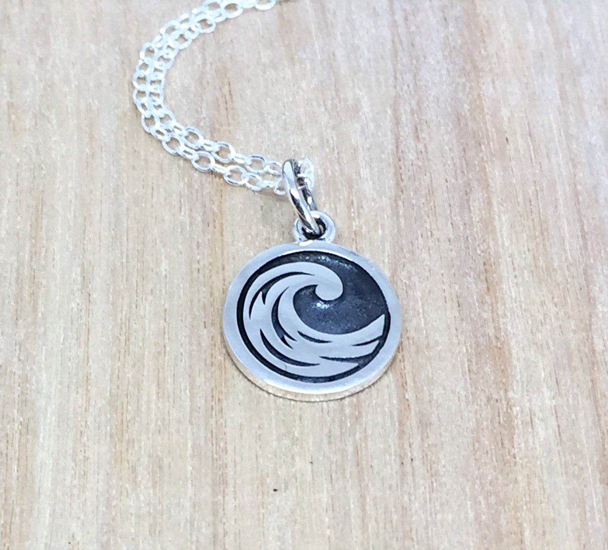 h2o necklace meaningful water necklace gift for surfers jewelry beach choker for swimmers Ocean Wave Necklace quote inspirational